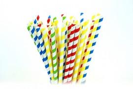 Słomki papierowe 8x205 kolorowe paski (100szt)