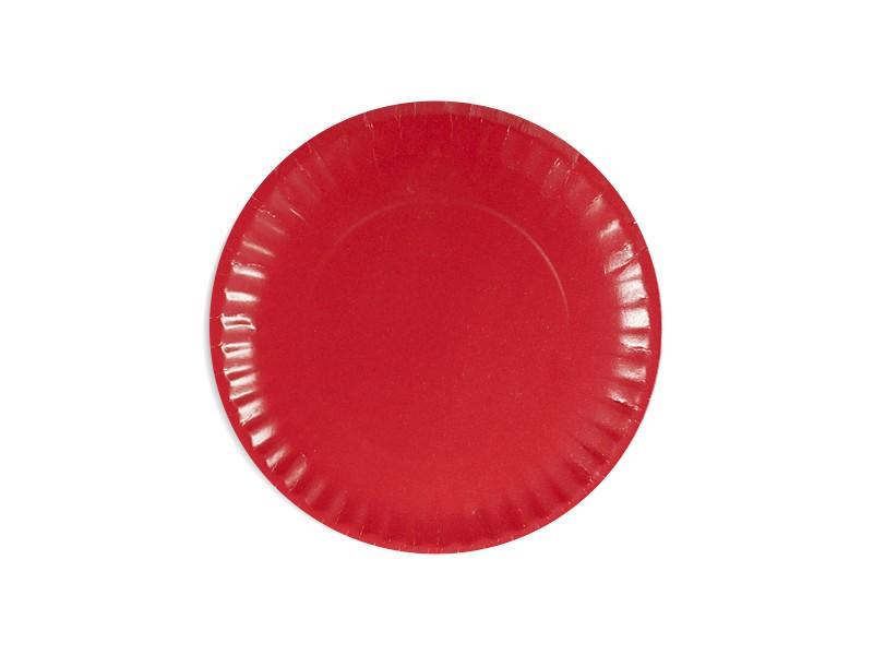 Talerz papierowy czerwony 18cm (24 szt)