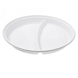 Talerz plastikowy biały 22cm dwudzielny (100szt.)