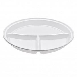 Talerz plastikowy biały 22cm trójdzielny (100szt)