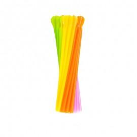 Słomka prosta kolorowa z łyżeczką (500szt)