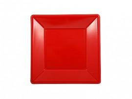 Talerz plastikowy kwadratowy 23x23 czerwony (8szt)