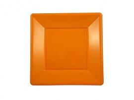 Talerz plastikowy kwadratowy 23x23 pomarańczowy (8szt)