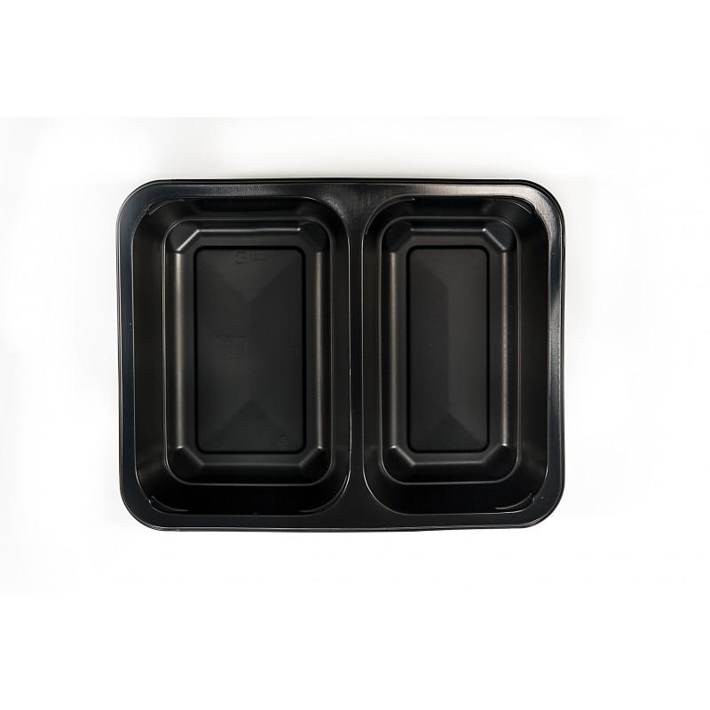 Pojemnik PP czarny 2-dzielny  1400ml 227x178x50 (320 szt)