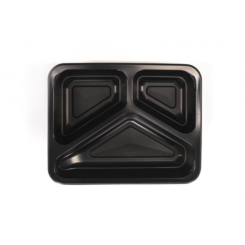 Pojemnik PP czarny 3-dzielny 227x178x50 (320 szt)
