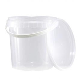 Wiaderko plastikowe PP z wieczkiem 1L ATEST (10szt)